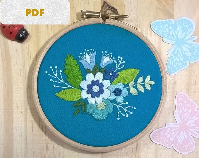 Digital Embroidery Pattern Blue Bouquet Needlepoint Design