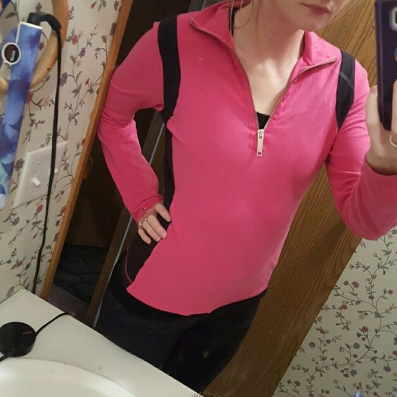 Tommy Hilfiger pink and black half zip jacket Hot pink and black Tommy hilfiger half zip jacket. Great condition. Comfy, stretch material. Athletic type jacket. Tommy Hilfiger Jackets & Coats