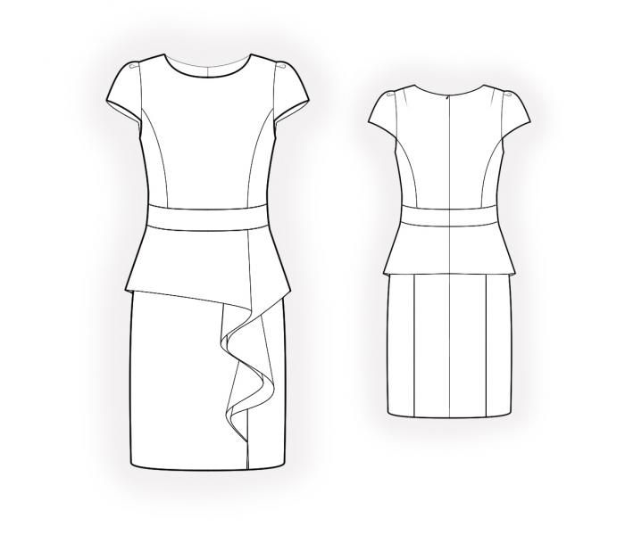 Dress With Peplum - Sewing Pattern #4501. Made-to-measure sewing ...