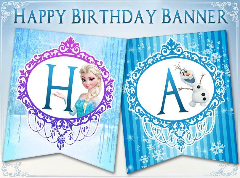 Frozen Birthday Banner Happy Birthday Banner Bunting Disney Frozen