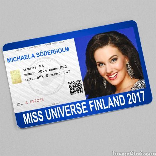 Michaela Sderholm Miss Universe Finland  Card  Id Card