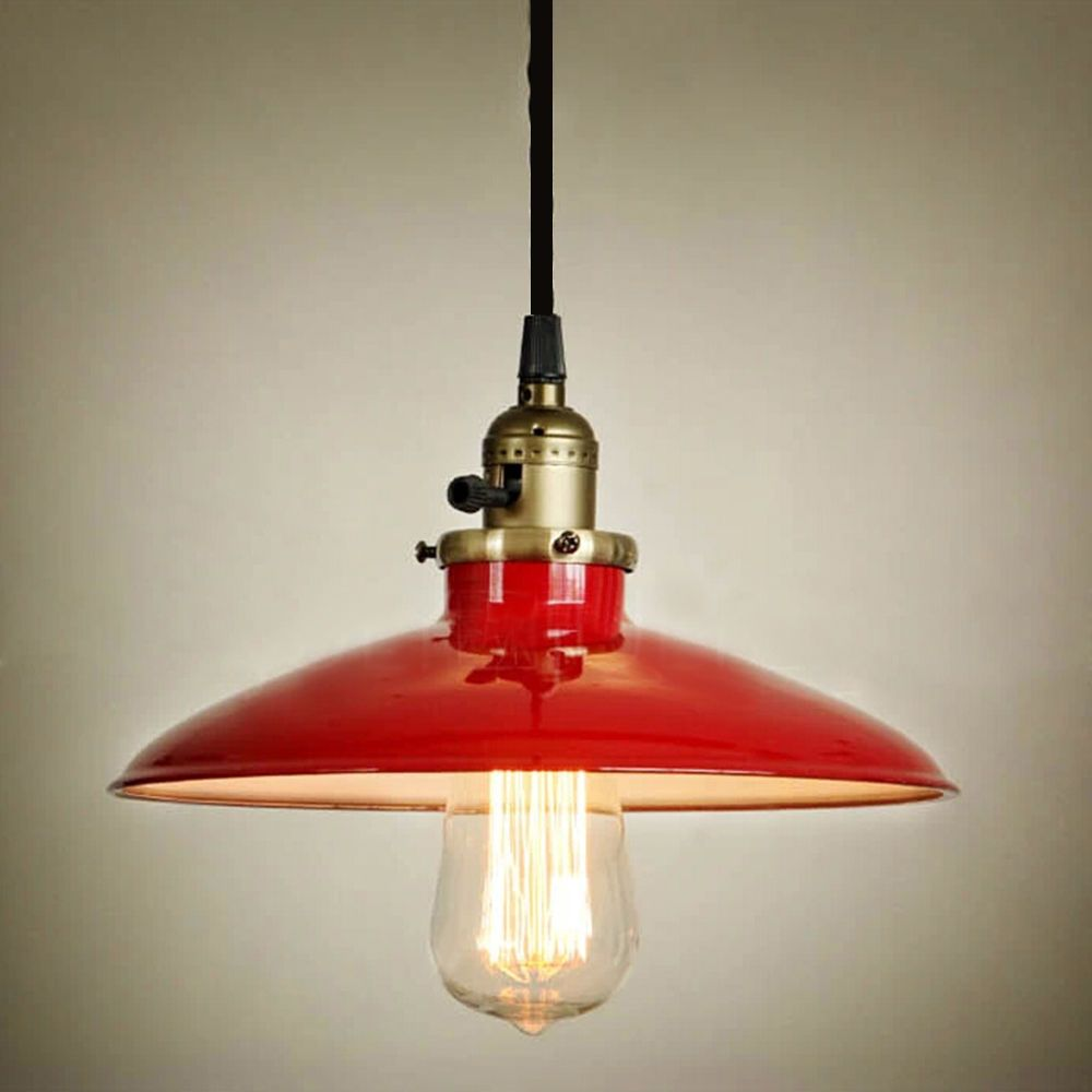 Modern Red Pendant Lighting : Modern metal loft bar red vintage industrial pendant lamp