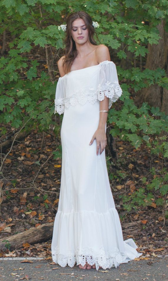 Bohemian Off The Shoulder Gown Chiffon Wedding Dress Boho Bride Phiffer By Daughters Of Simone