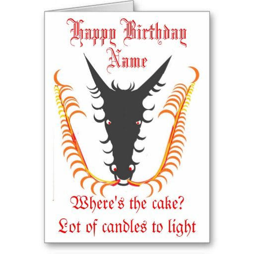 Dragon Breathing Fire Birthday Card Add Name Front Cardsall