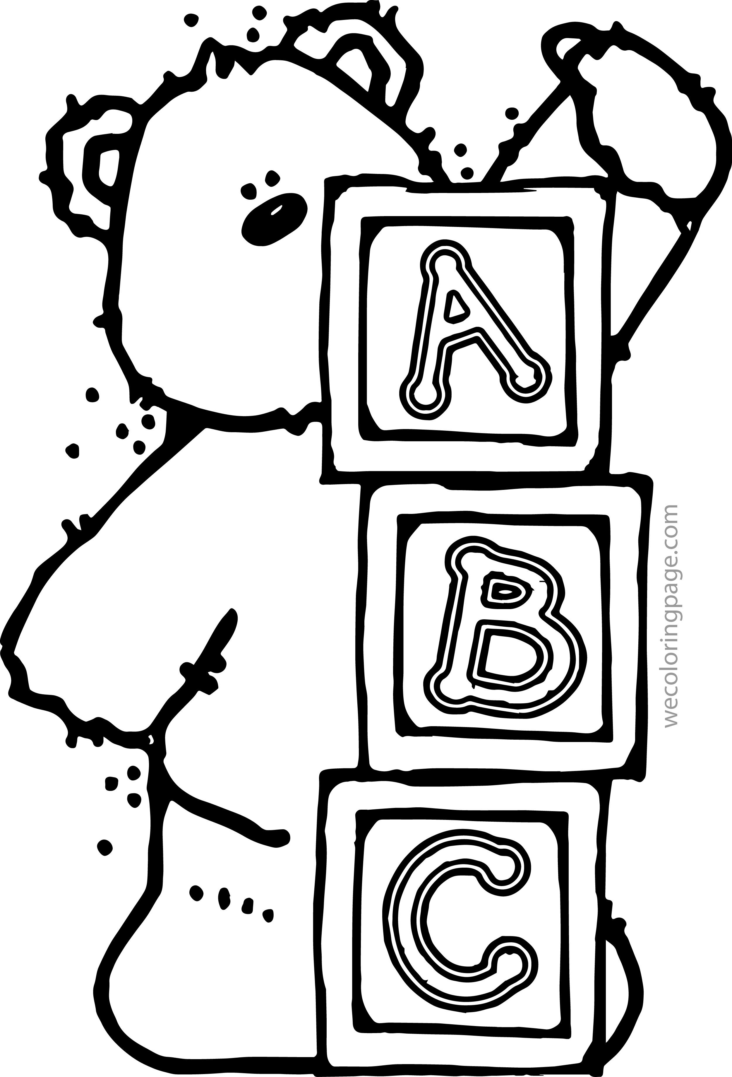 Coloring Pages Kids Bear A B C Page Abc Animal Inside Abc