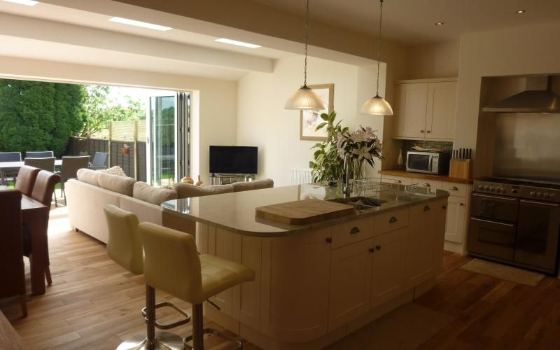 Summer Single Storey Extension To Create Modern Open Plan Kitchen Dining Family Area With Additional Ground Floor Study Utility Room And Shower