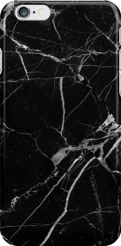 'Black Marble' iPhone Case by maniacreations