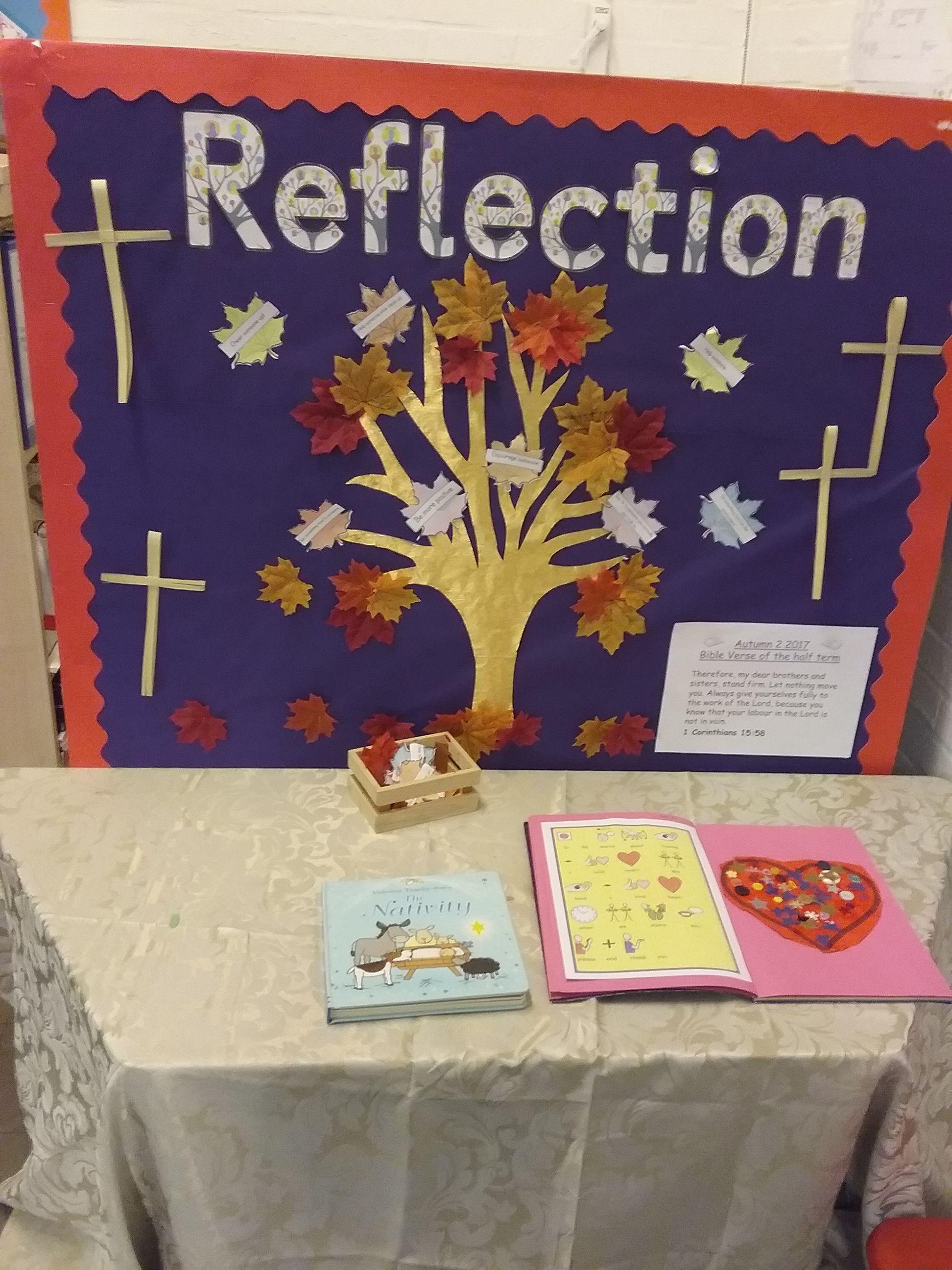 Classroom Decor Door ~ Re reflection table display kindness tree