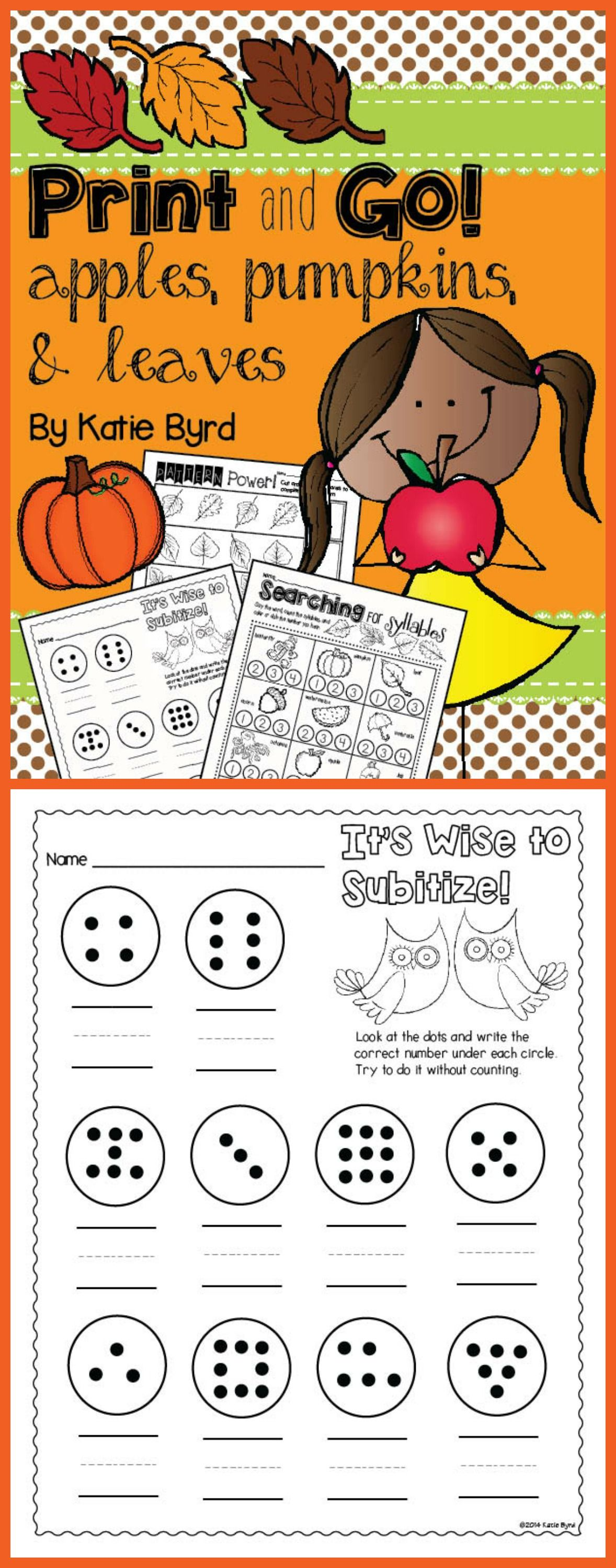 Print And Go Apples Pumpkins Amp Leaves Fall Math And