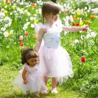 Adorable matching girl and doll's dressing up costumes at Mothersgem