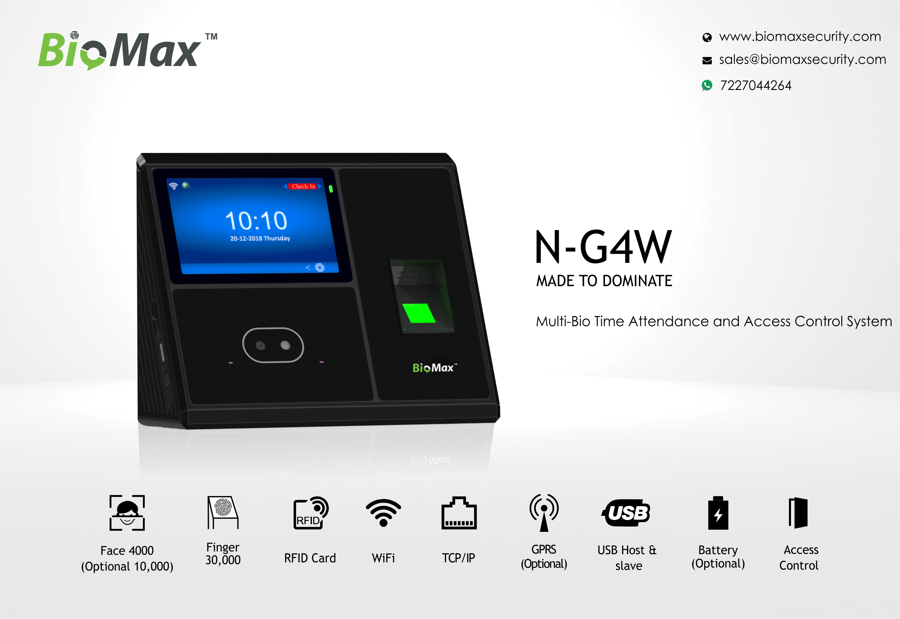 BioMax NG4W MultiBio Time Attendance and Access