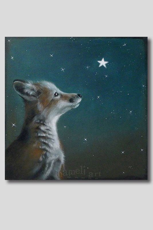 Fox art print  llustration Acrylic Painting Animal Painting Wall Decor Wall hanging Magical Wall Art gift by inameliart on Etsy https://www.etsy.com/listing/94728994/fox-art-print-llustration-acrylic