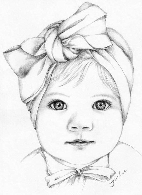 Custom baby girl or family pencil portrait drawing from a photo.