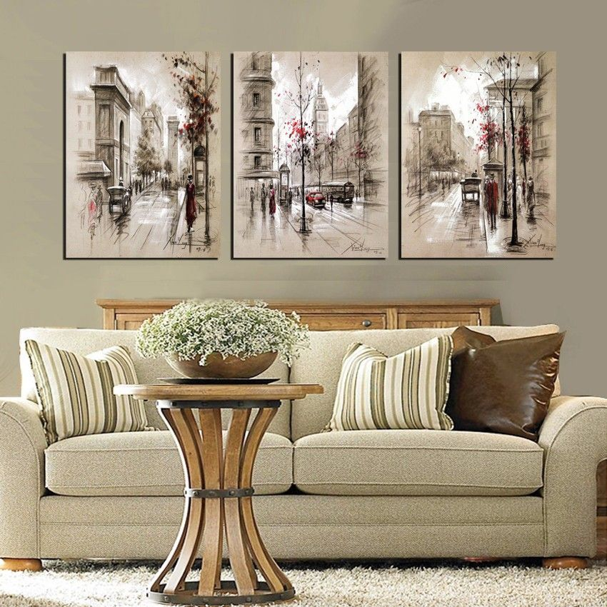 Modern Style Abstract Oil Painting Canvas Retro City Street
