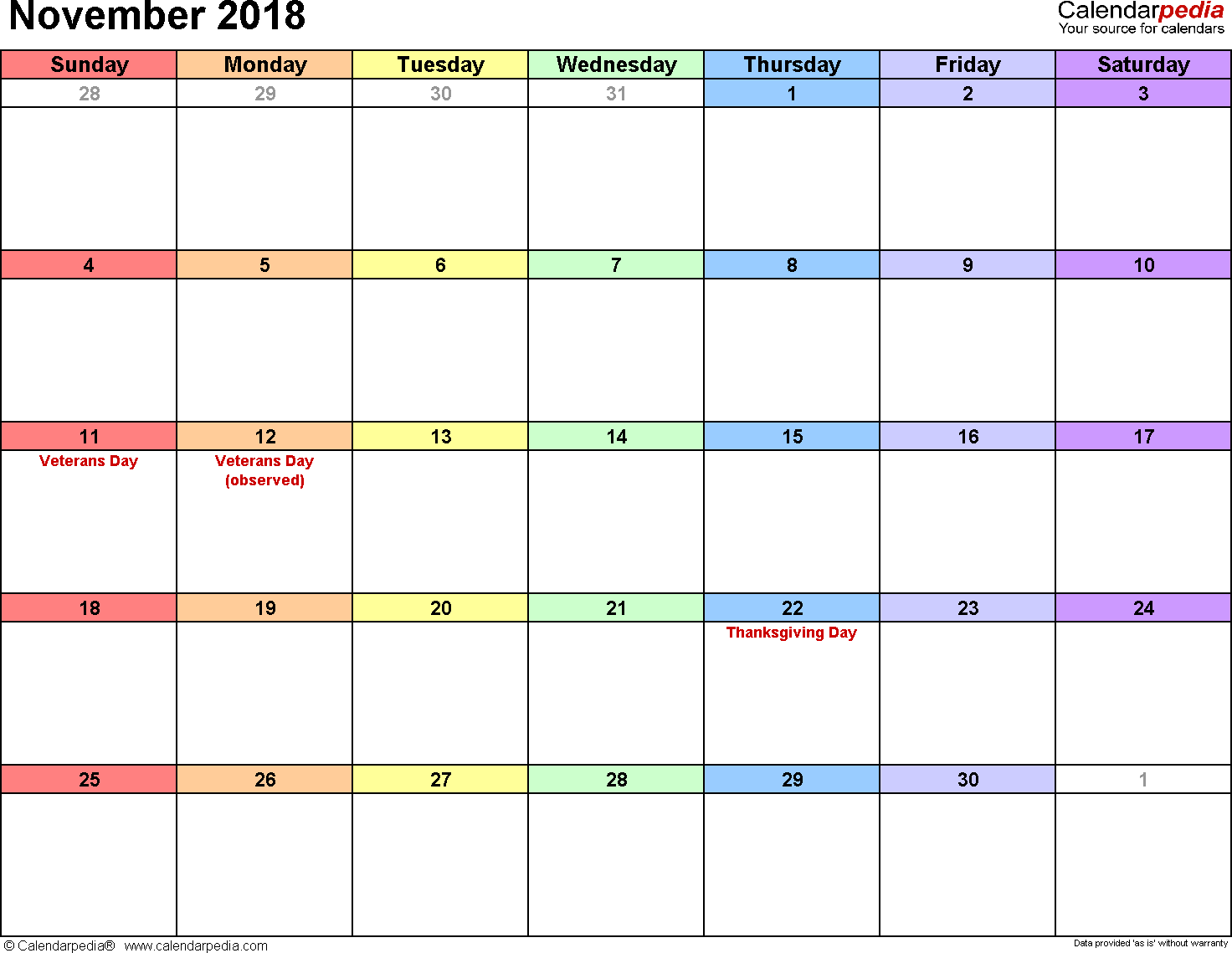 November 2018 Calendars For Word, Excel & Pdf | Calendar | Pinterest