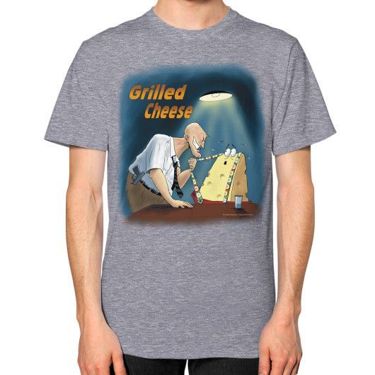 """WordPlay """"Grilled Cheese"""" Unisex T-Shirt (on man) designed by Neal Fox & Ron Kule"""