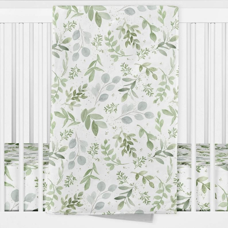 Baby Boy Cot Quilt Crib Quilt Blanket WaterColour Leaves Neutral Baby Bedding