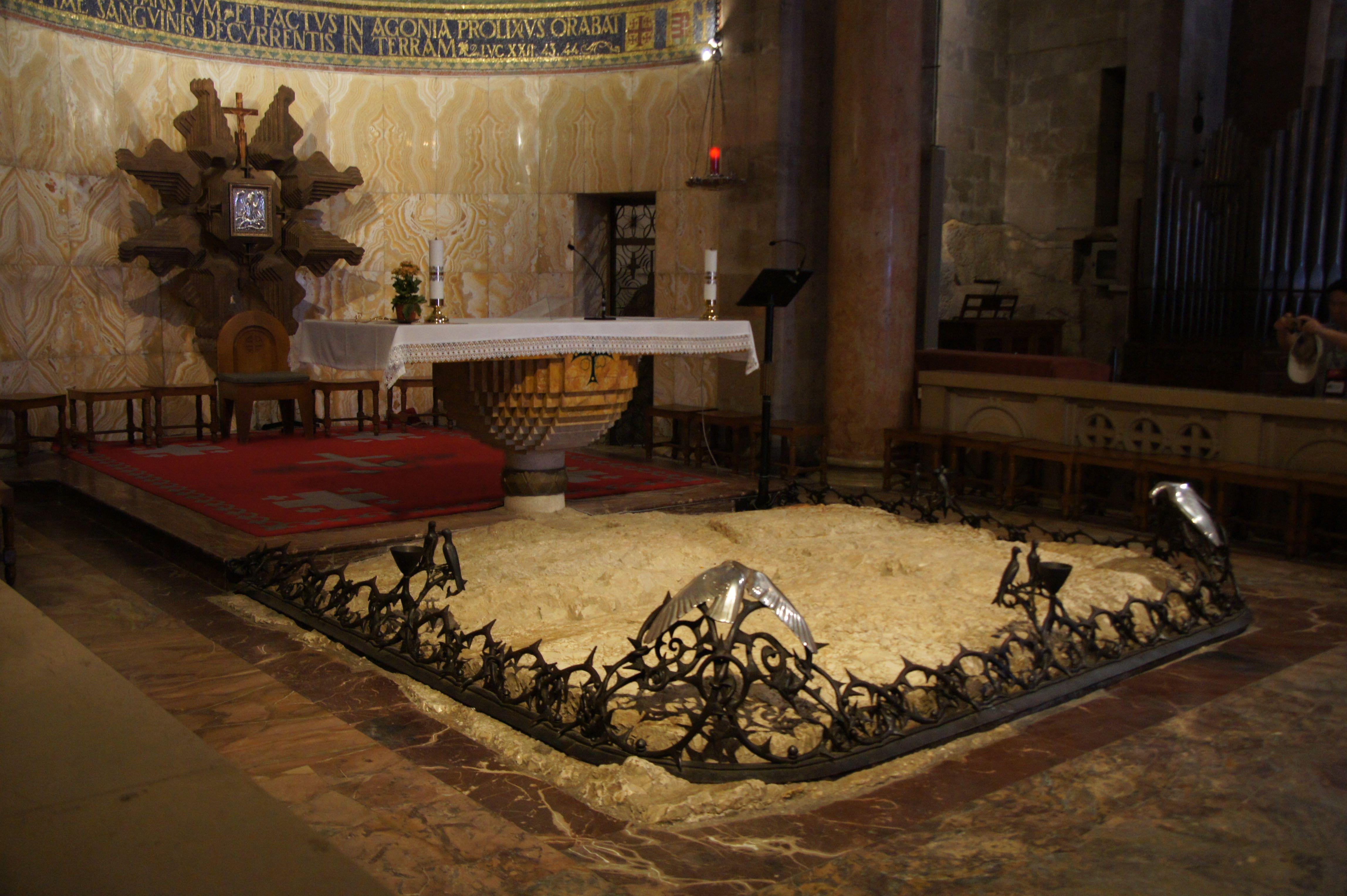 The bedrock where Jesus prayed in anguish