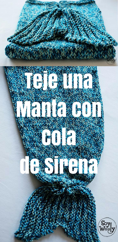 Cómo tejer una manta con cola de sirena en dos agujas   Crochet ...