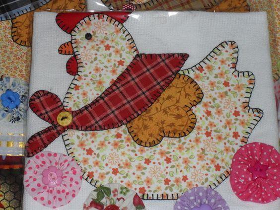 Resultado de imagen para pano de prato patchwork for Apliques para toallas