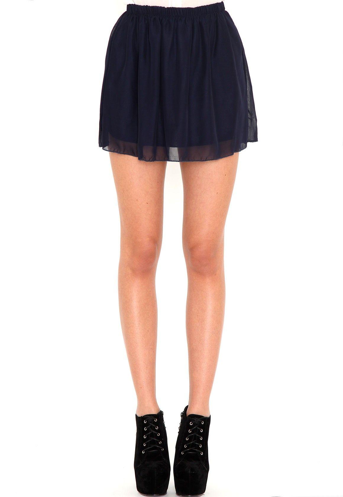 Ellva Sheer Skater Skirt In Navy