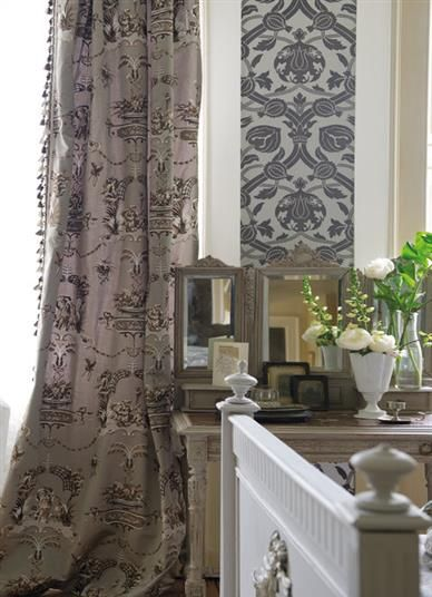 Gentle Mauve gives warmth to this French style interior #naturalcurtaincompany #violet #purple #plum