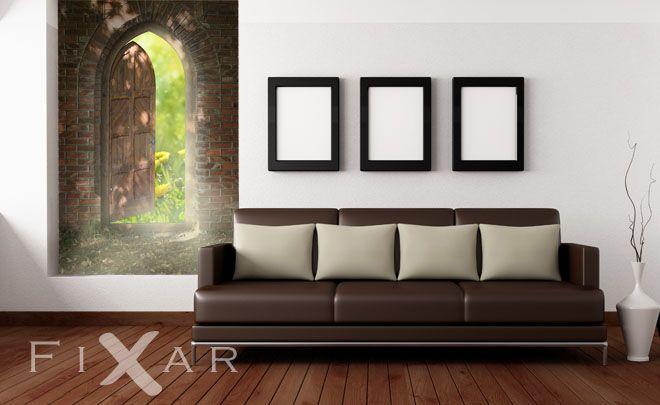 Doppeltür wohnzimmer ~ Die tür auf die natur fototapete fürs wohnzimmer