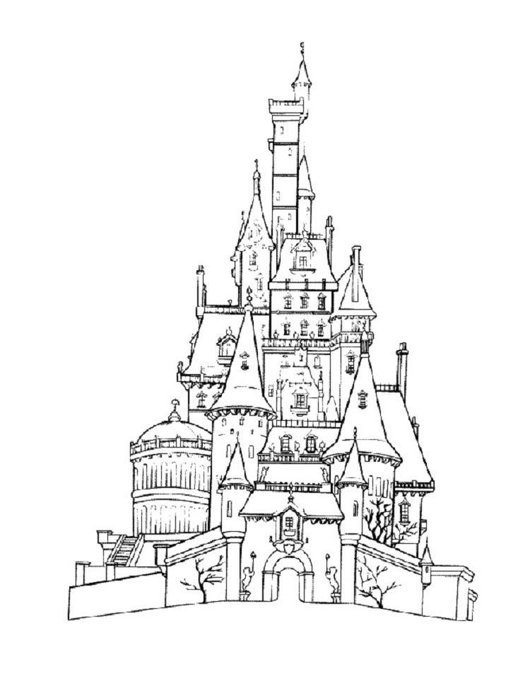 Beauty And The Beast Castle Coloring Pages Castle Coloring Page Disney Coloring Pages Free Disney Coloring Pages
