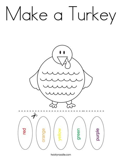 Make a Turkey Coloring Page - Twisty Noodle | Turkey ...