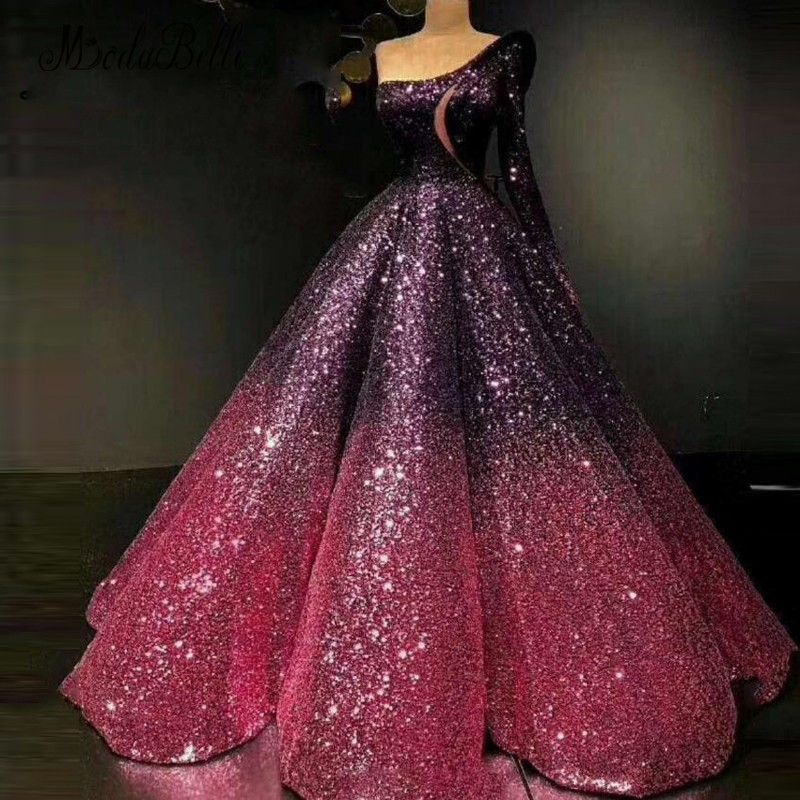 modabelle Bling Saudi Arabic Sequin Long Evening Dress Sparkly Dubai  Vestidos Longo Formais 2018 Prom Party Luxury Ball Gown f1c32e85b52b