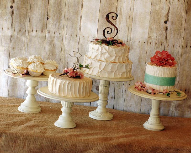 Set Of 3 Rustic Pedestal Serving Cake Stands Any Color By Roxyheartvintage On Etsy