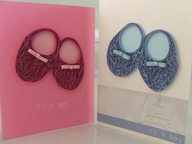 Boy and Girl Baby Bootie Cards by polkadotparasoldesigns, via Flickr