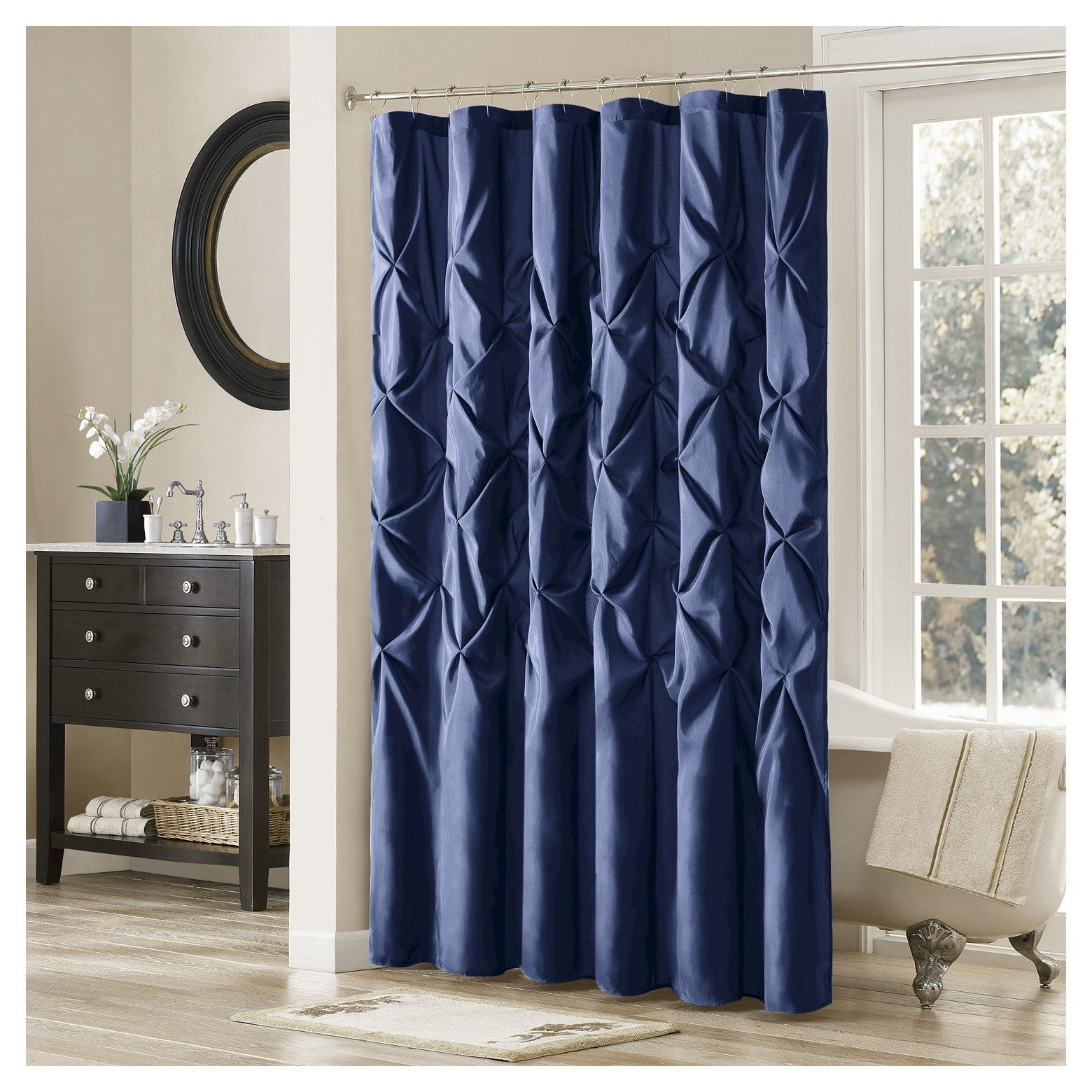 Update Your Bathroom Instantly With The Piedmont Faux Silk Shower Curtain Large Tufting Creates A Contemporary Look While Adding Value To Space