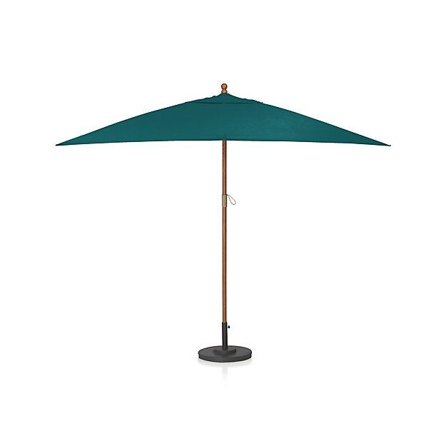 Rectangular Sunbrella Bold Turquoise Patio Umbrella With Eucalyptus Frame Crate And Barrel Patio Patio Umbrella Blue Patio