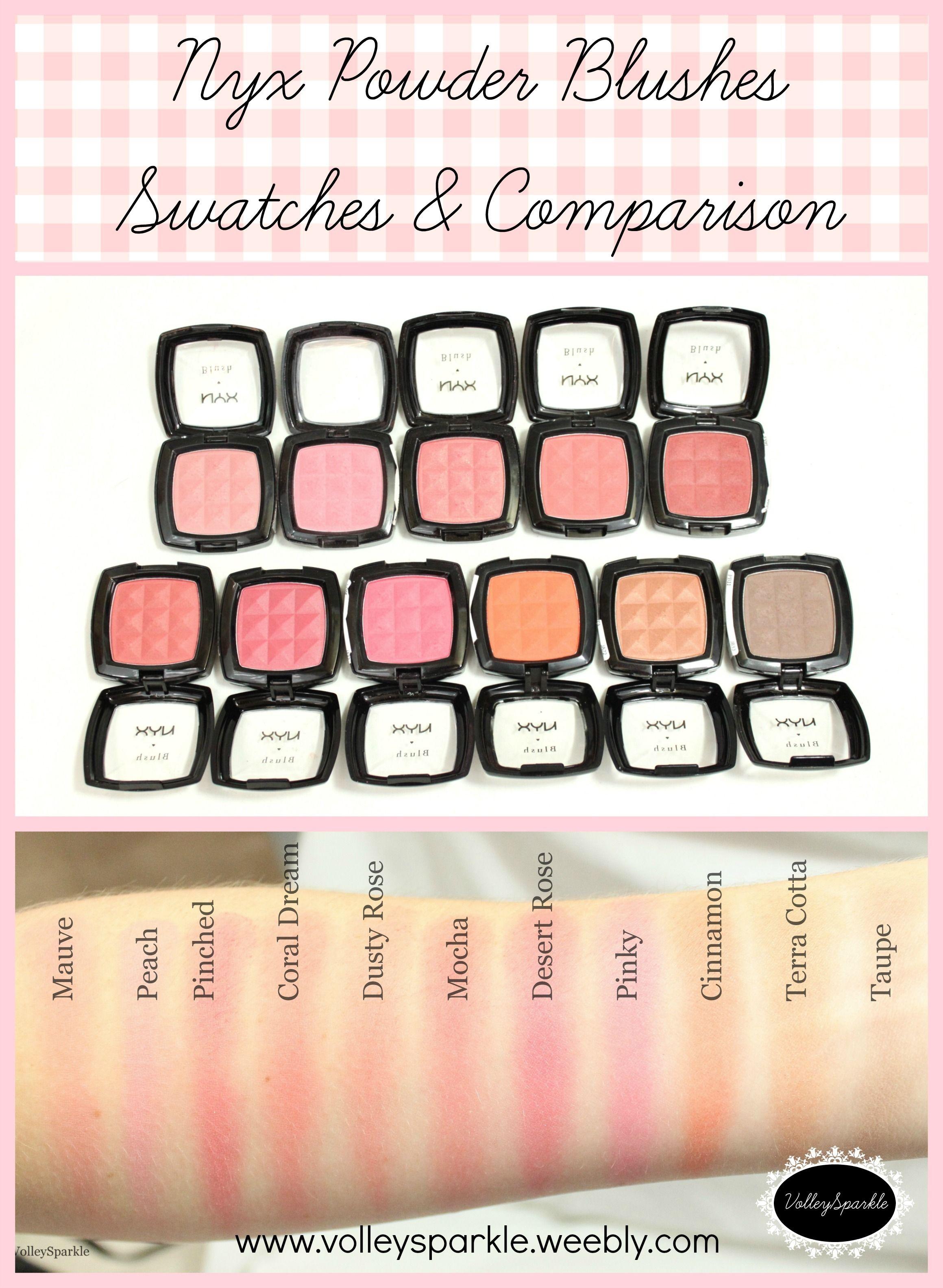 Nyx Powder Blush Swatches Comparison Mauve Peach Pinched