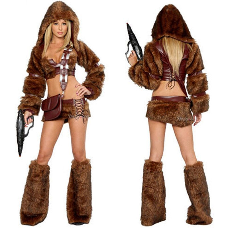 Click to Buy \u003c\u003c Fancy Women Style Party Brown Cosplay Sexy Mini