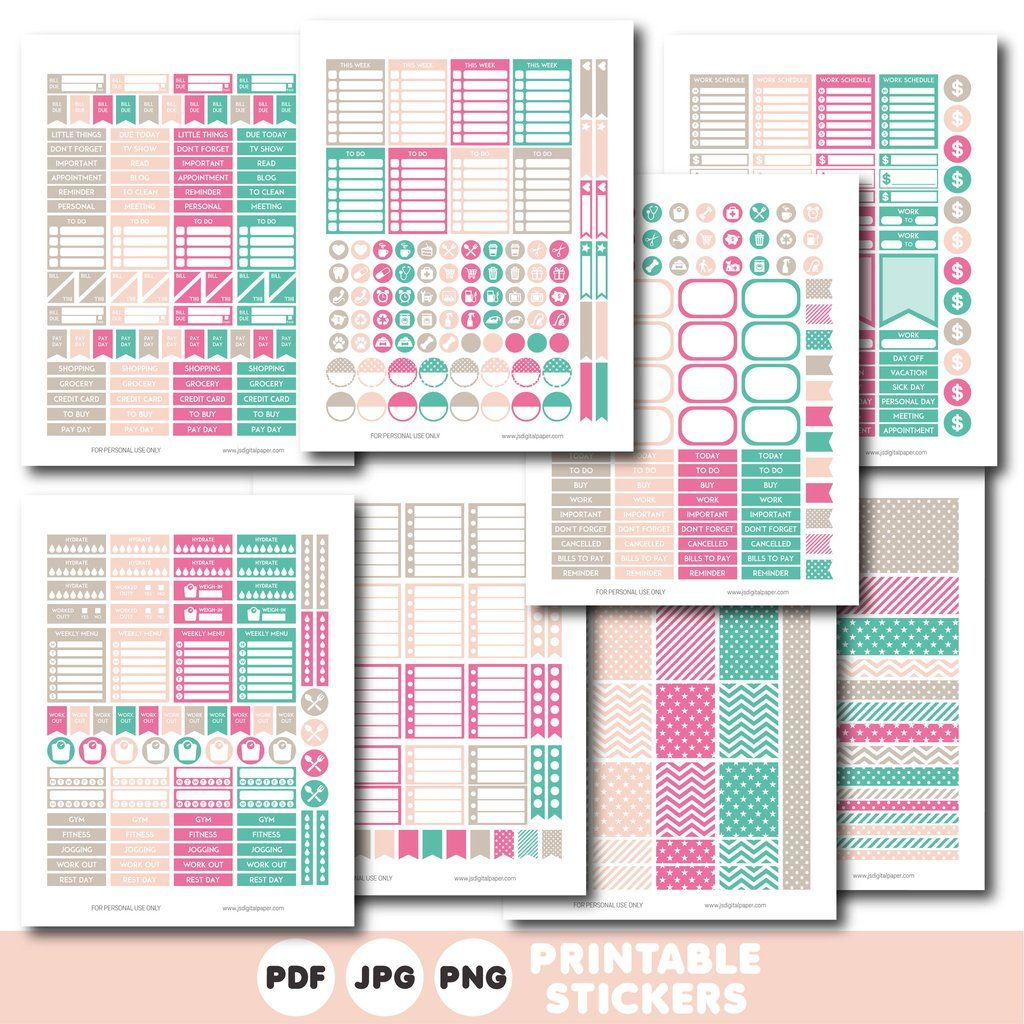 Turquoise, brown and pink printable weekly planner stickers with daily  stickers, work stickers,