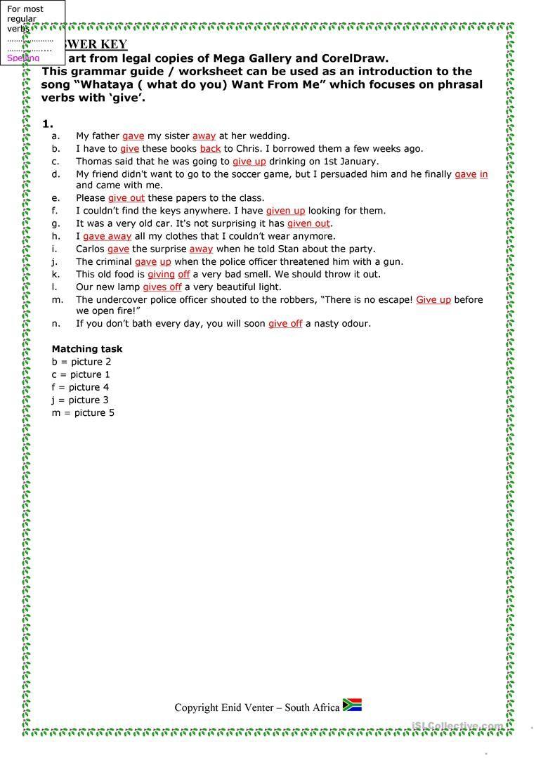 PHRASAL VERBS weather worksheet Free ESL printable