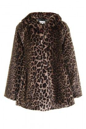 Stone Leopard  Faux Fur Hooded Coat