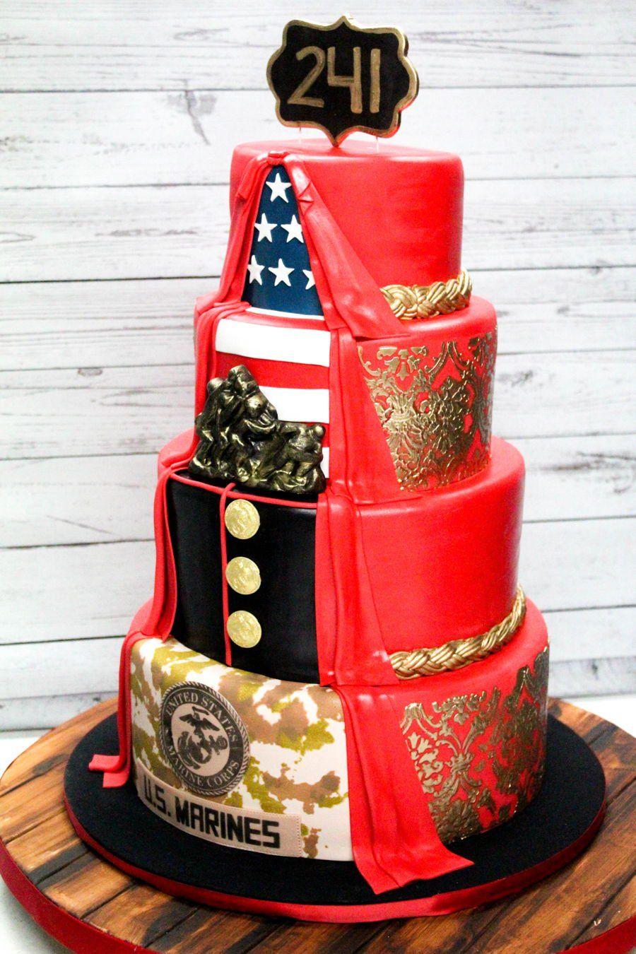 Usmc Birthday Cake 2 sided USMC fondant cake. 4 tier