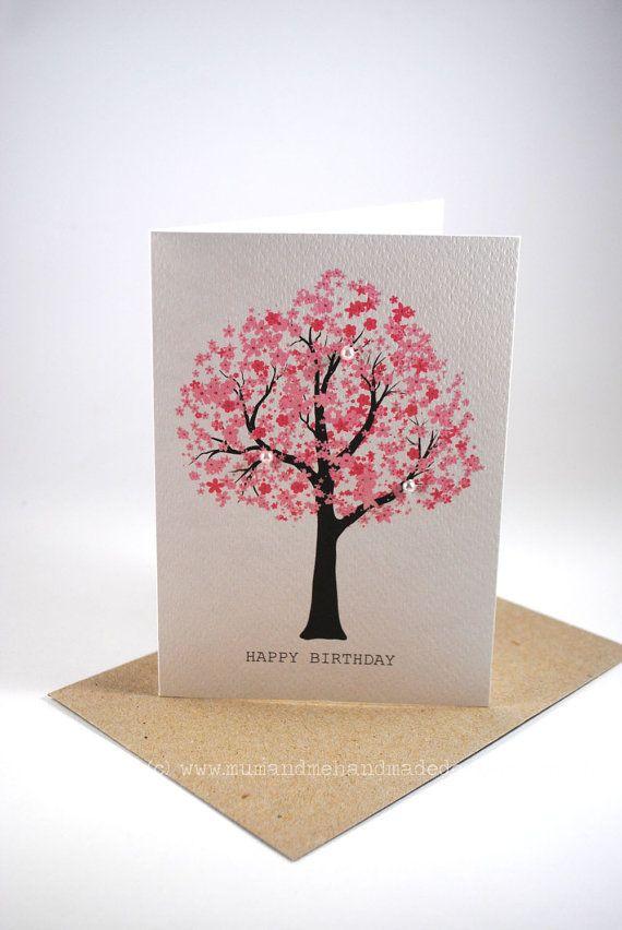 Happy Birthday Card - Female - Pink Cherry Blossom Tree - Pearls - HBF101 on Etsy, £1.95