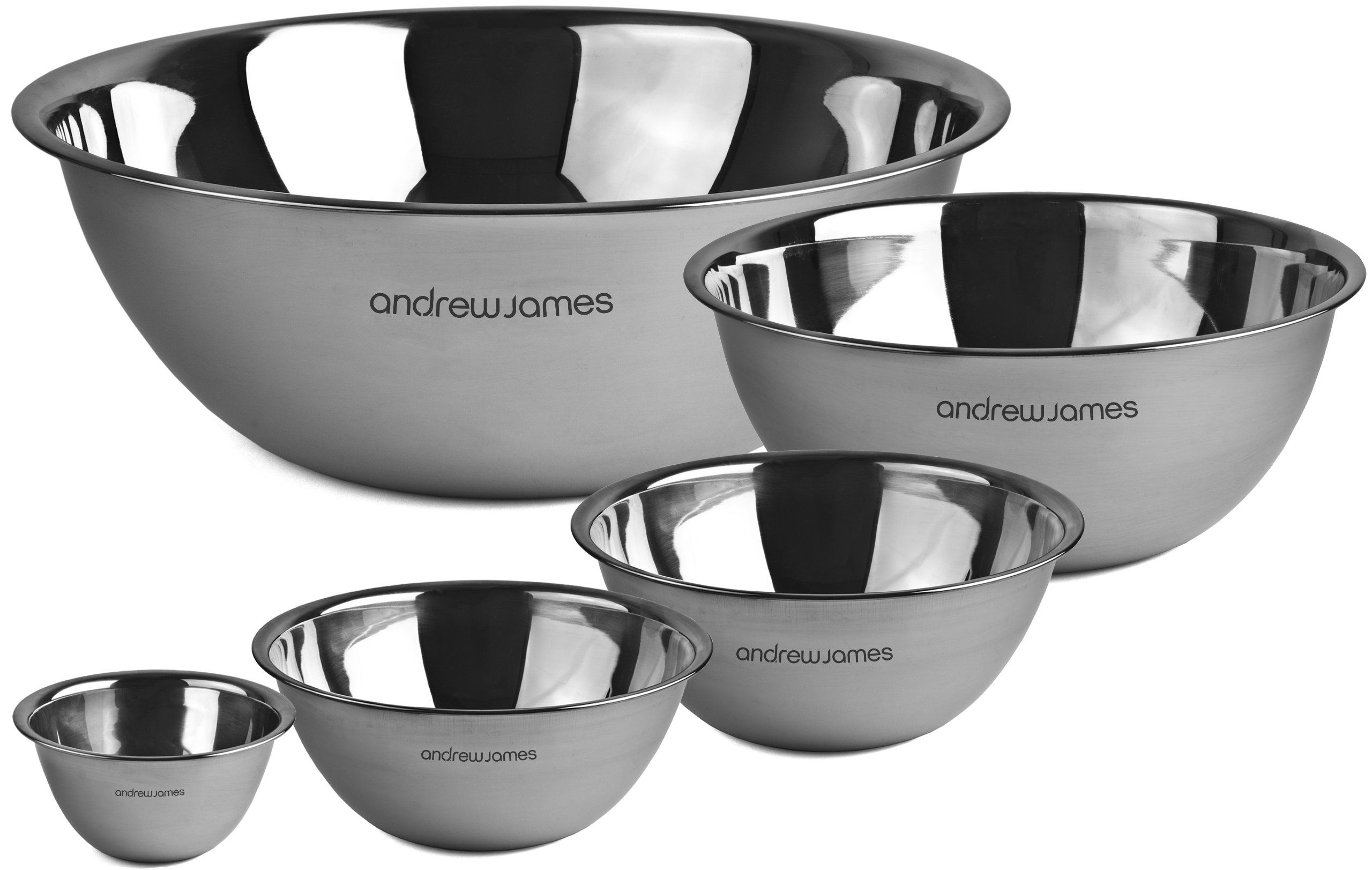 Andrew James Professional Stainless Steel 5 Piece Mixing