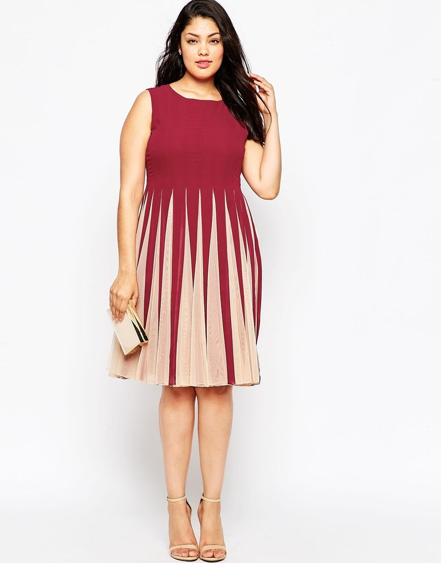 Image 4 of asos curve fit flare dress with insert fit