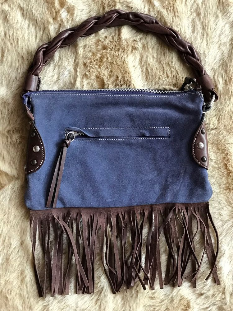 58cc5bde8b CAVALCANTI Collection Made In Italy Blue Suede Leather Fringe Bag Small   CAVALCANTI  ShoulderBag