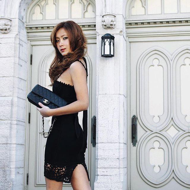 Julie Lan of popchampagneblog.com in Little Black Dress from @thekewlshop