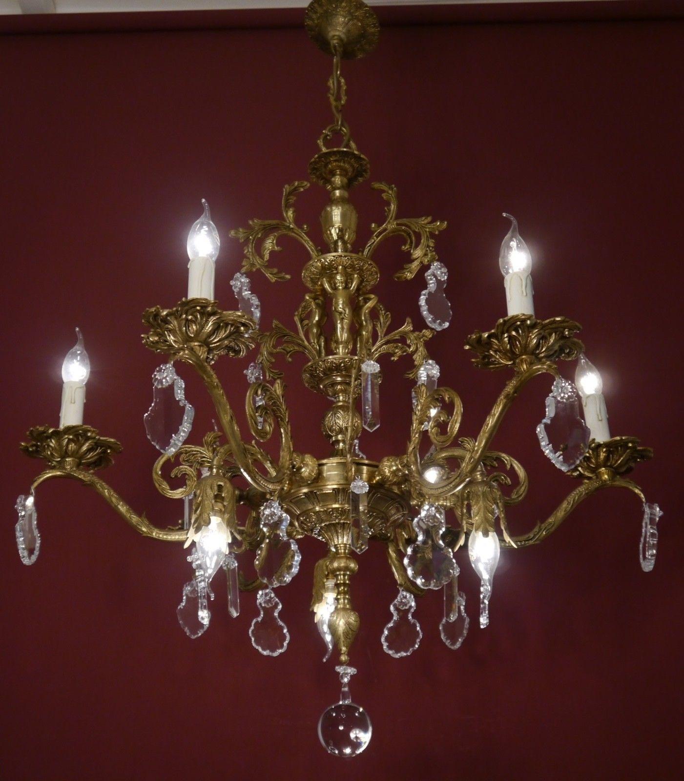 RARE BIG 9 LIGHTS CHERUBS BRASS SPANISH CRYSTAL CHANDELIER BAROQUE