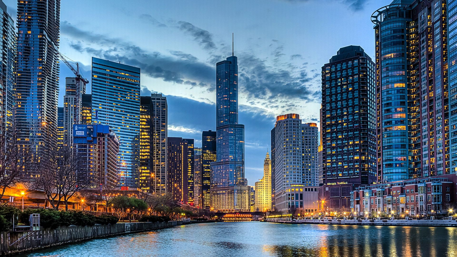 Chicago Skyline Night HD desktop wallpaper High Definition