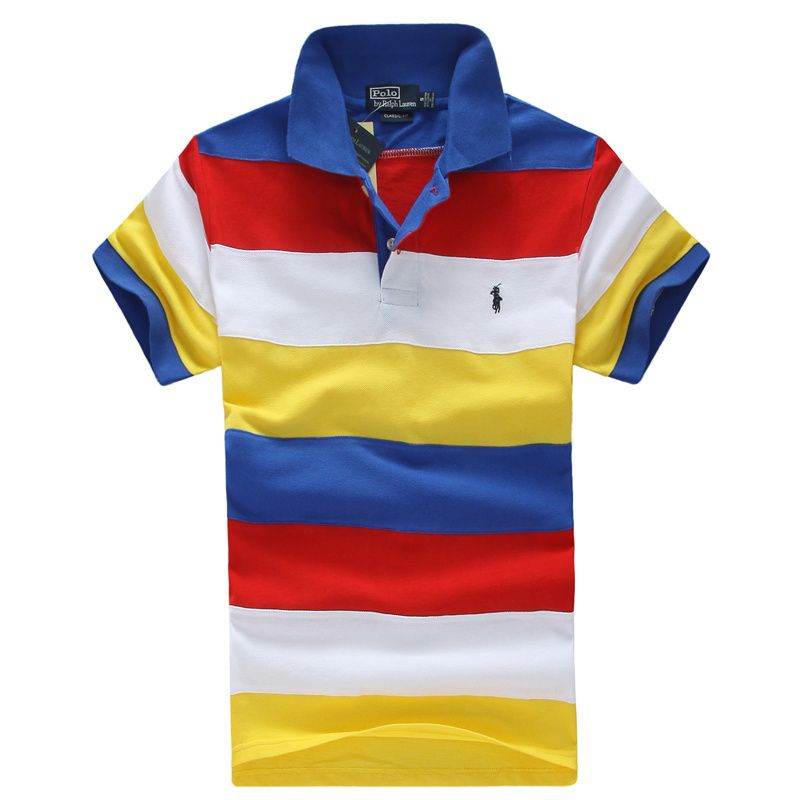 Men\'s Polo Ralph Lauren Custom-Fit Candy Color Block Stripes Small Pony  Polo Shirt Red/Yellow