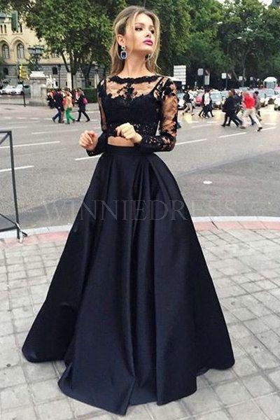 Black+Long+Sleeve+A-Line+Bateau+Floor+Length+Satin+Two+Piece+Prom +Dress+WNPD0422 daf98b30e081