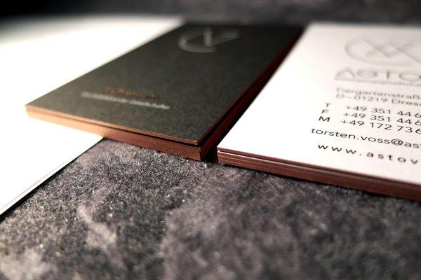 Visitenkarte Mit 3 Heißfolien Transparent Kupfer Schwarz